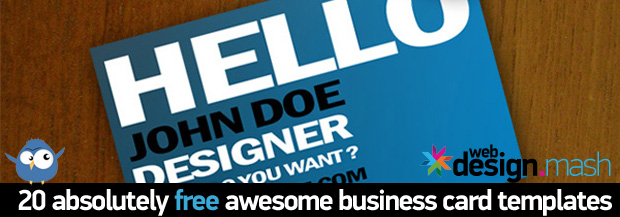awesome business cards2 20 FREE New Business Card Templates for 2012