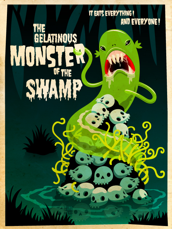 the monster of the swamp by grelin machin d3dfpok The Cute and Creepy Vector Art of Grelin Machin