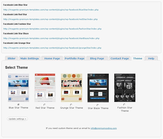 1 theme selection panel Using the Facebook Page Themes Plugin for WordPress