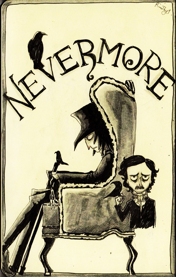 02 nevermore   sketch by 9timothy9 d3lb6ch1 Of Mystery and Macabre – 20 Images of Edgar Allan Poe's The Raven