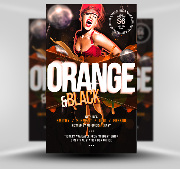 Black and Orange Flyer Template