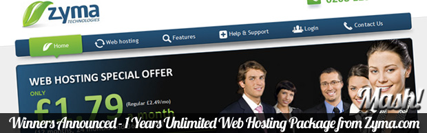 winners announced unlimited webhosting zyma Winners Announced   1 Years Unlimited Web Hosting Package from Zyma.com