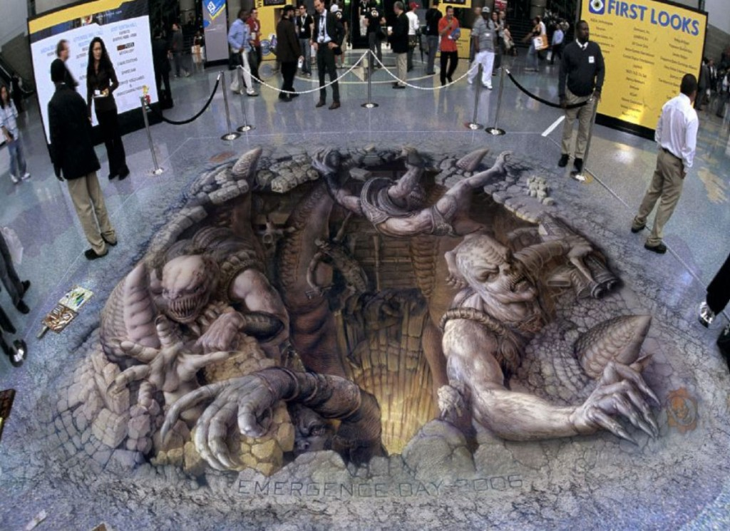 street chalk art optical illusion 1 Stunning Optical Illusions Created by Street Chalk Artists